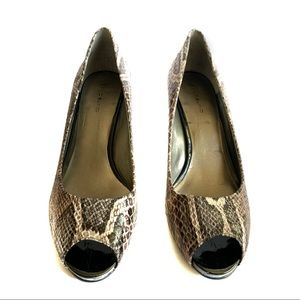 Bandolino Animal Snakeskin Peep Toe Pump Heels